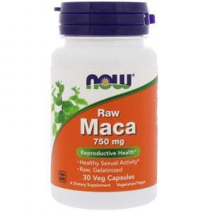 Мака, Raw Maca, Now Foods, 750 мг, 30 капсул