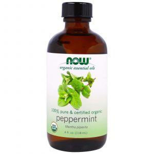 Мята перечная масло, (Organic Essential Oils, Peppermint), Now Foods, 118 мл