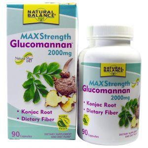 Глюкоманнан, максимальная сила, Glucomannan, Natural Balance, 2000 мг, 90 кап.