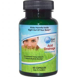 Кислотная добавка для очистки организма, Acid Drainage, pHion Balance, 60 кап.