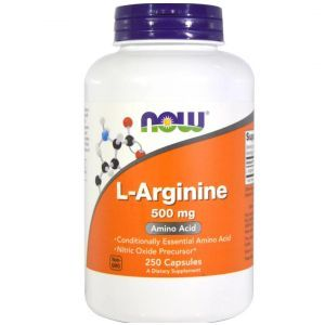 L-аргинин, L-Arginine, Now Foods, 500 мг, 250 капсул