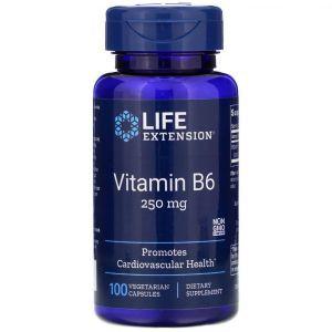 Витамин В6 (пиридоксин), Vitamin B6, Life Extension, 250 мг, 100 кап