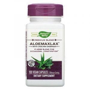 Каскара саграда с алоэ, AloeMaxLax, Nature's Way, 360 мг, 100 капсул
