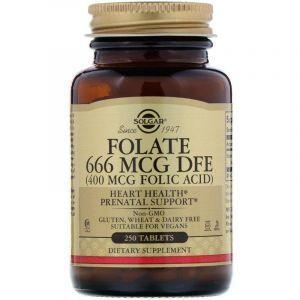 Фолат, Folate, Solgar, 400 мкг, 250 таблеток
