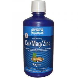 Жидкий кальций, магний, цинк, Cal/Mag/Zinc, Trace Minerals Research, 1200 мг/600 мг/15 мг, 946 мл.