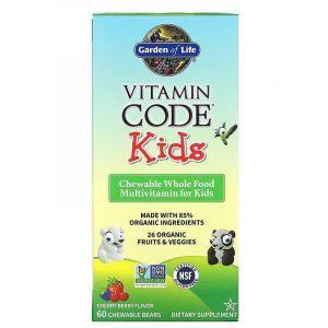 Витамины для детей (Multivitamin for Kids), Garden of Life, Vitamin Code, вишня, 60 шт