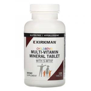 Мультивитамины для детей, Multi-Vitamin/Mineral Wafers With 5-MTHF, Kirkman Labs, 120 конфет