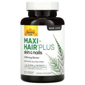 Витамины для волос, Maxi Hair Plus, Country Life, 5000 мкг биотина, 120 капсул
