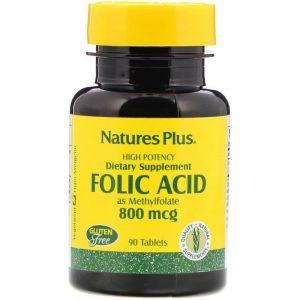 Фолиевая кислота, Nature's Plus, 800 мкг, 90 таблеток