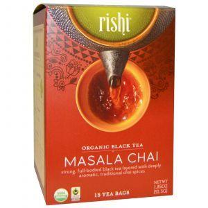Черный чай масала, Black Tea, Masala, Rishi Tea, органик, 15 чайных пакетиков, 52.5 г каждый