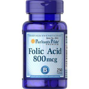Фолиевая кислота, Folic Acid, Puritan's Pride, 800 мкг, 250 таблеток