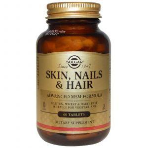 Витамины для кожи, волос и ногтей, Skin, Nails & Hair, Solgar, 60 табле