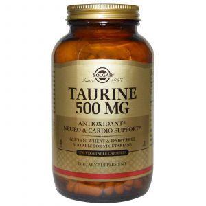 Таурин, Solgar, 500 мг, 250 капсул