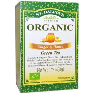 Органический зеленый чай имбирь и мед, Green Tea, St. Dalfour, 50 г