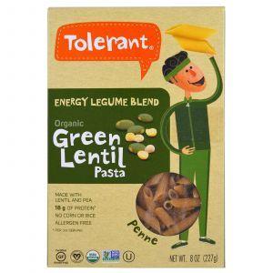 Пенне из зеленой чечевицы и гороха, Green Lentil & Pea Pasta, Penne, Tolerant, органик, 227 г