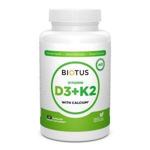Витамин Д3, К2 с кальцием, Biotus, 120 капсул