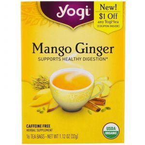 Чай с манго и имбирем, Mango Ginger, Yogi Tea, без кофеина, 16 пакетиков, 32 г