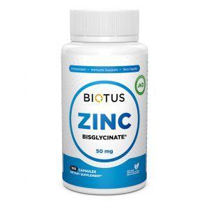 Цинк бисглицинат, Zinc Bisglycinate, Biotus, 50 мг, 100 капсул
