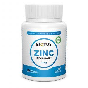 Цинк пиколинат, Zinc Picolinate, Biotus, 22 мг, 60 капсул
